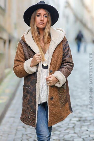 manteau marron camel beige doux chaud avec imprimé manteaux femme