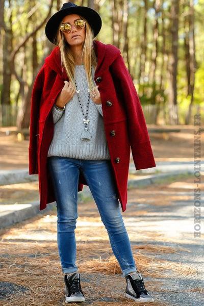 manteau rouge bordeaux chaud capuche vêtement femme hiver 024