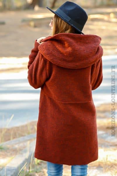 manteau rouille chaud capuche vêtement femme rouge hiver 024