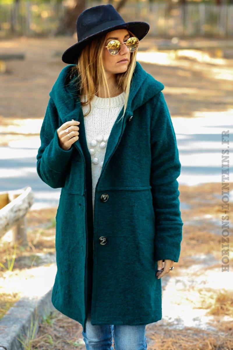 Manteau vert fonce femme