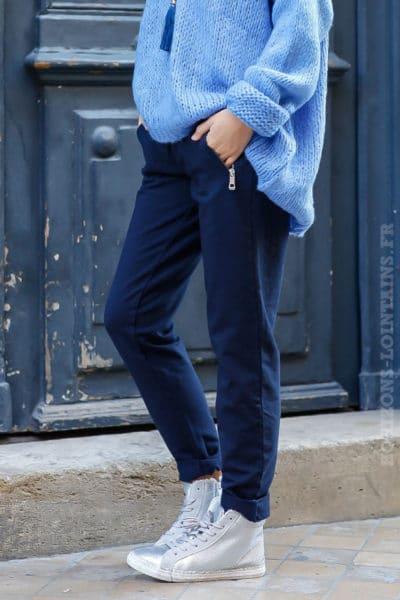 Jogging femme couleur bleu marine ceinture élastique