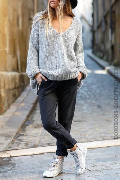 Jogging femme couleur gris foncé ceinture élastique
