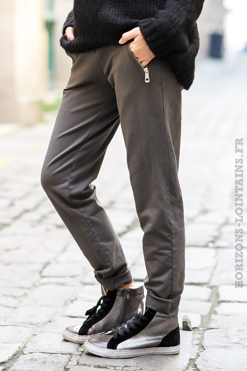 Jogging taupe, ceinture élastique, poches zip - Horizons Lointains 651fc6420aa