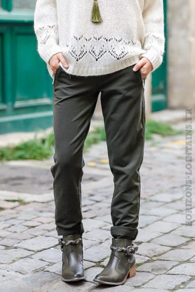 Jogging femme couleur vert kaki ceinture élastique