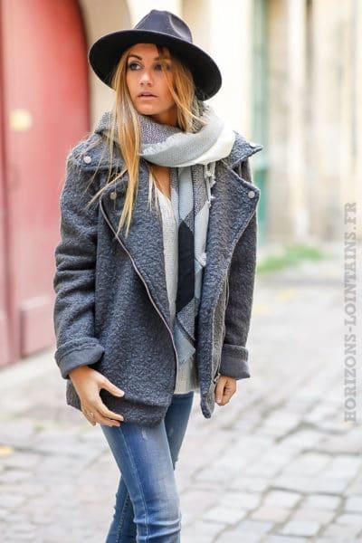 perfecto gris foncé matière laine bouillie fermeture éclair look stylé tendance manteau femme