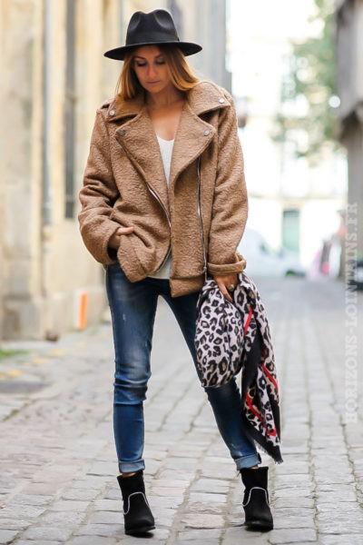 perfecto marron camel beige matière laine bouillie look stylé tendance manteau femme