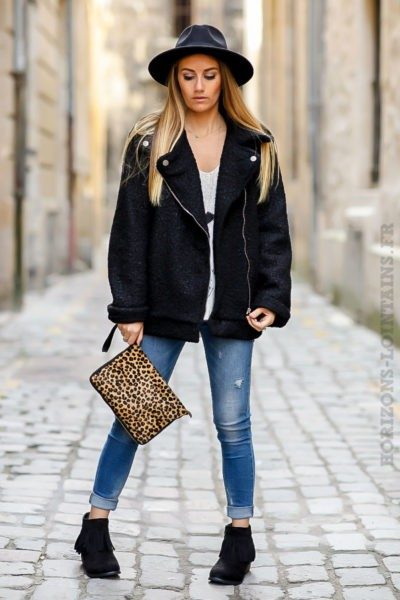 perfecto noir matière laine bouillie look moderne tendance manteau femme fermeture éclair