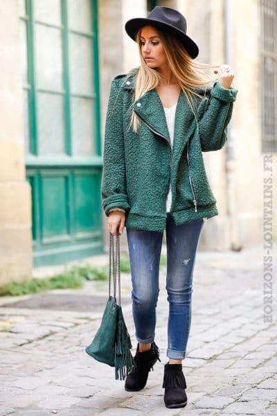 perfecto vert foncé matière laine bouillie look stylé vestes tendance manteau femme