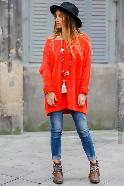 Robe pull femme ample oversize orange col bateau