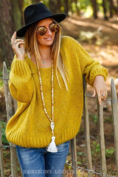 pull jaune moutarde ressérré bas mailles avec brillant confortable ample look femme B217
