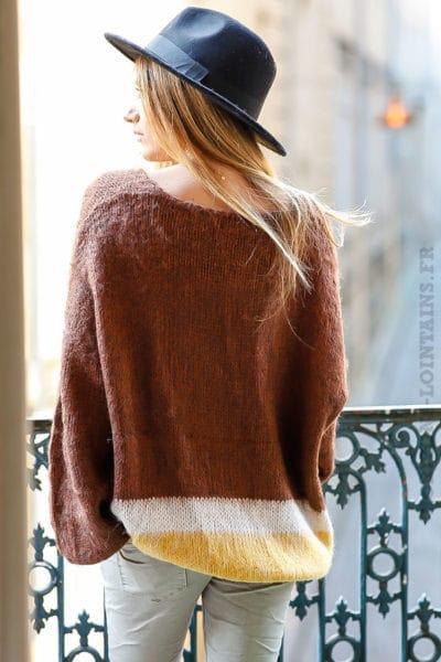 pull marron tout doux col vêtement femme hiver chaud look tendance