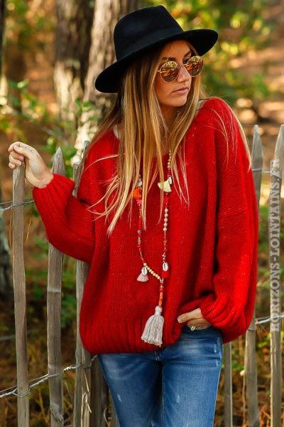pull rouge ressérré bas mailles avec brillant confortable ample look femme B217