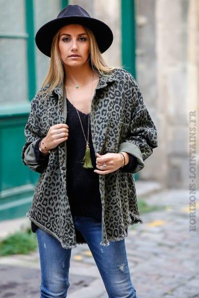 Veste femme en jean couleur kaki et imprimé léopard