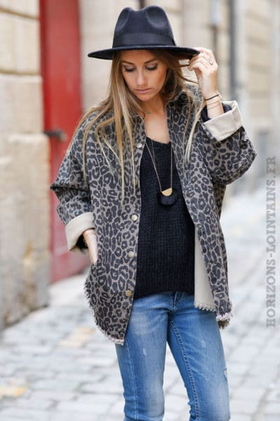 Veste femme en jean couleur taupe et imprimé léopard
