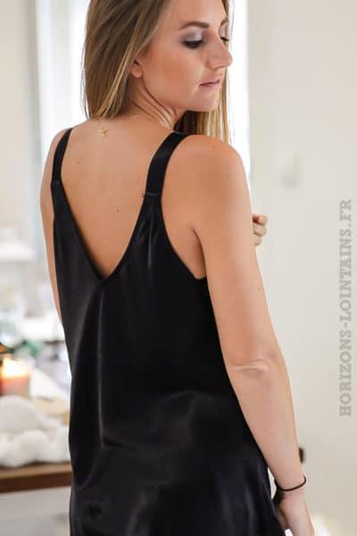 Caraco-couleur-noir-satiné-avec-petits-boutons-tenue-fête-réveillon-noel-b228