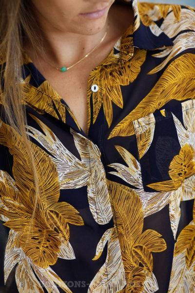 Chemise effet voile motifs feuilles moutarde It Hippie