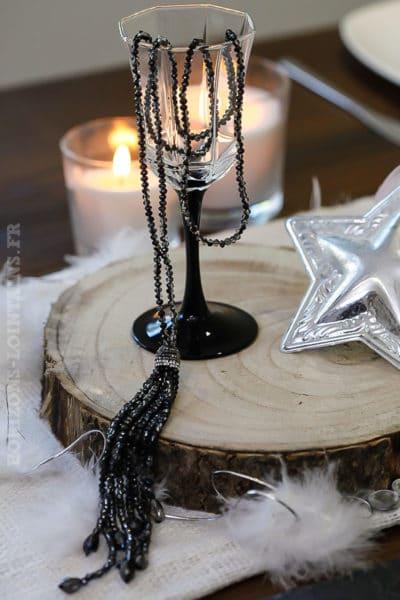 Collier perles gris à facettes brillantes bijoux de noël