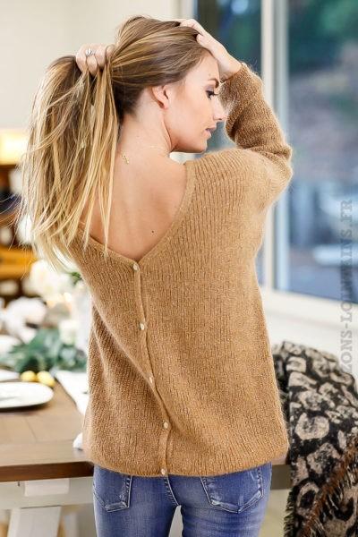 Gilet-camel-marron-réversible-pull-vêtements-femme-chic-look-moderne