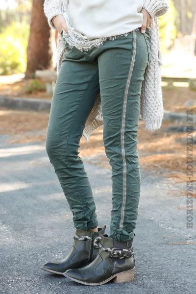 Jean femme vert kaki avec bande perlée brillante