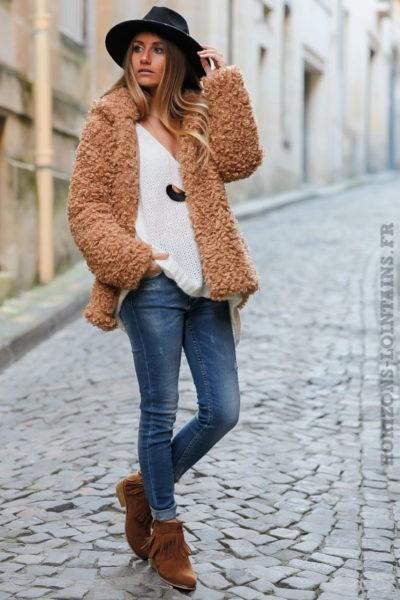 manteau à capuche à boucle camel doux et confortable