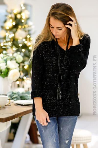 Pull-noir-effet-brillant-argenté-vêtement-fête-fin-année-col
