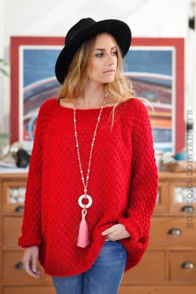 Pull-rouge-doux-mailles-losanges-b240