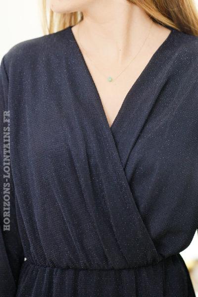 Robe-noire-brillante-avec-paillettes-argentées-décolleté-cache-cœur-fête-réveillon-noel-b83-8