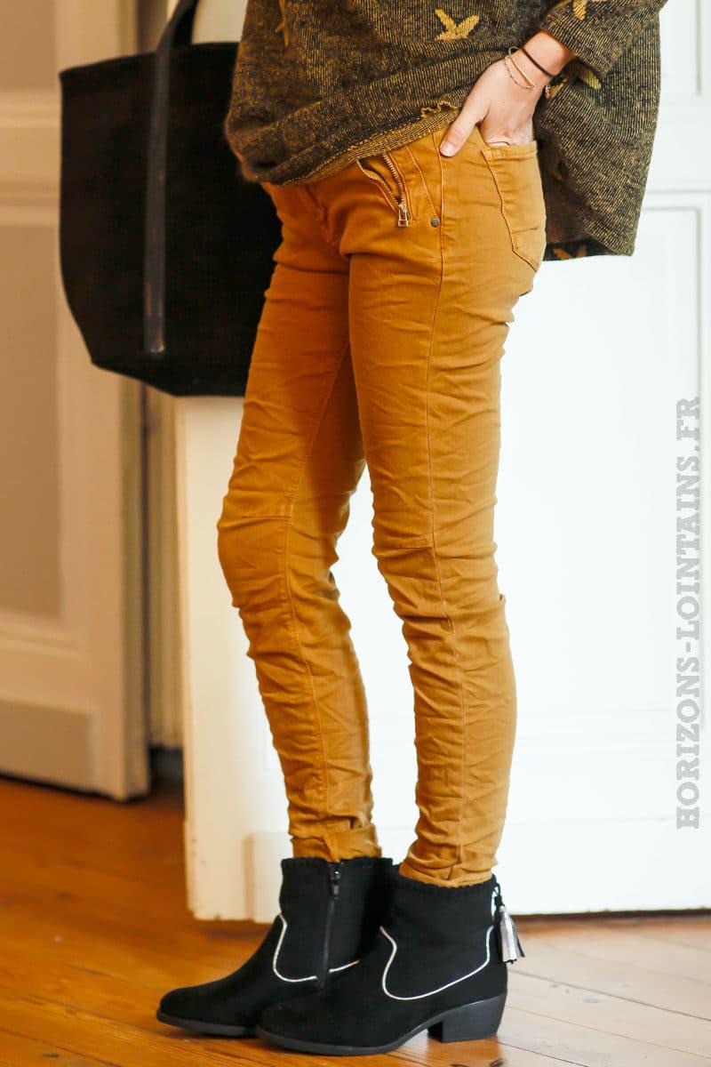 en présentant styles frais détails pour Jean curry avec poches zip