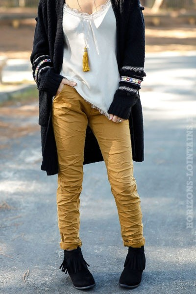 Pantalon jaune curry, ceinture lacet