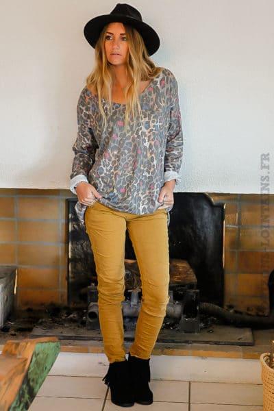 pantalon-zip-couleur-curry-confort