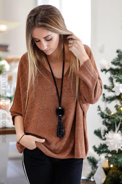 pull-fin-camel-effet-brillant-manches-chauve-souris-vêtements-fêtes-soirée-look-B247