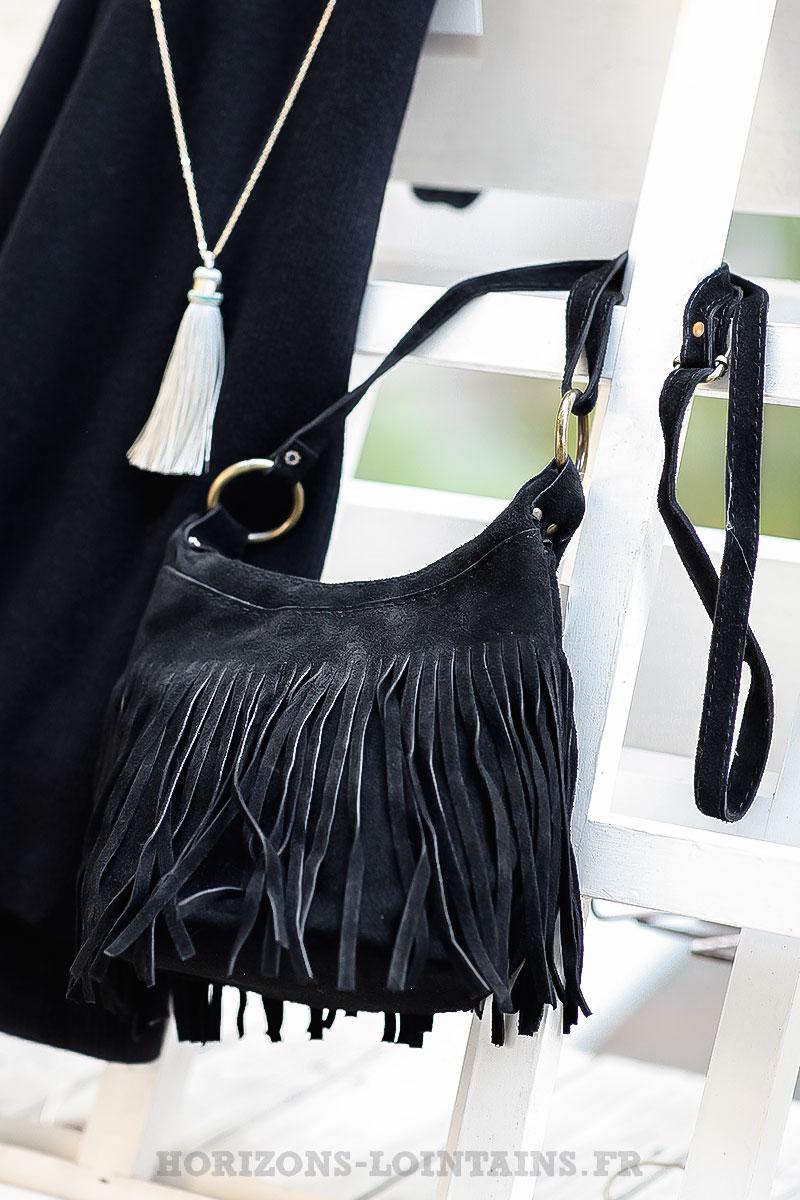 2f43d0e95b Sac seau noir cuir velours à franges - Horizons Lointains