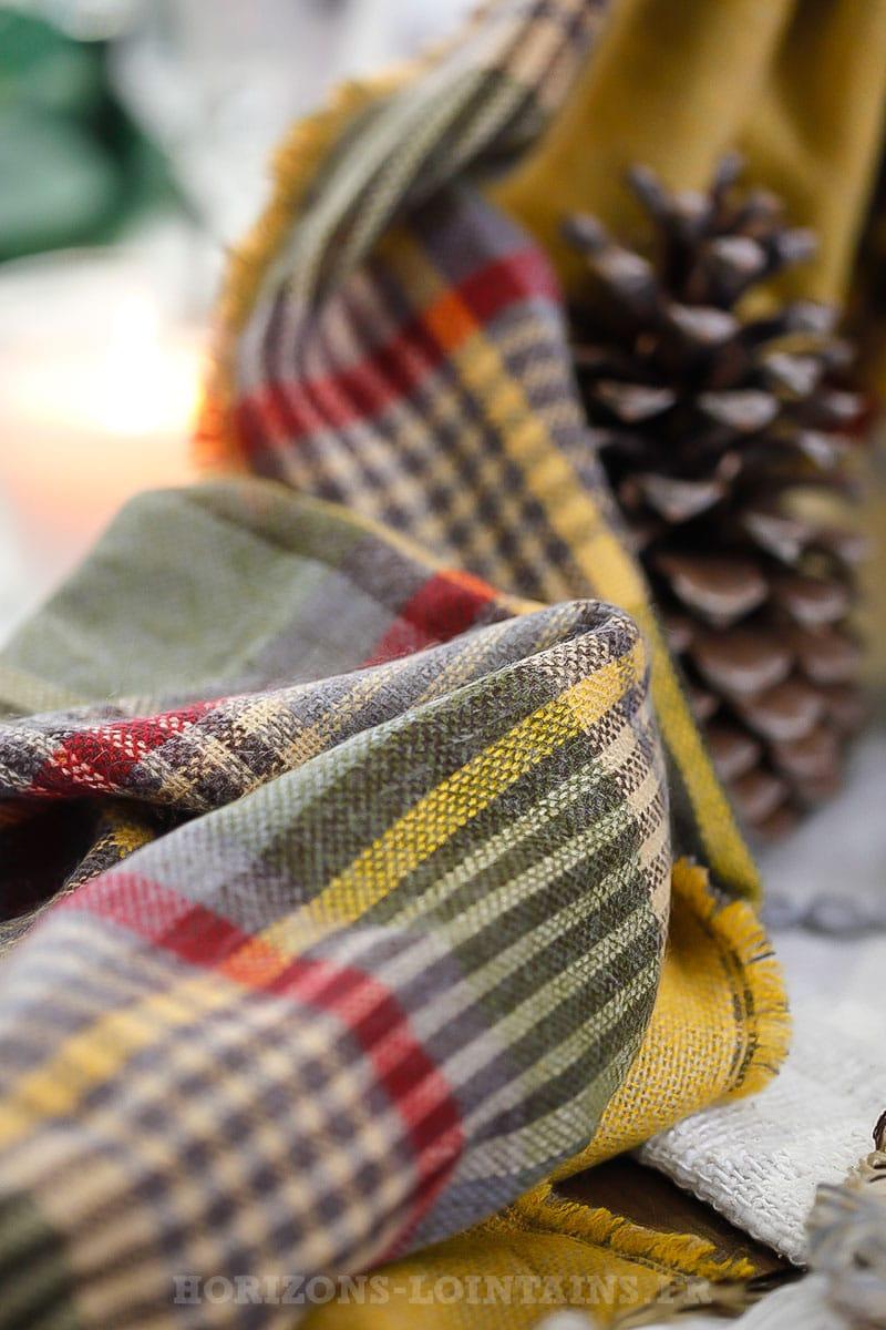 90c046e5e48 Écharpe moutarde à carreaux vert gris et bordeaux - Horizons Lointains