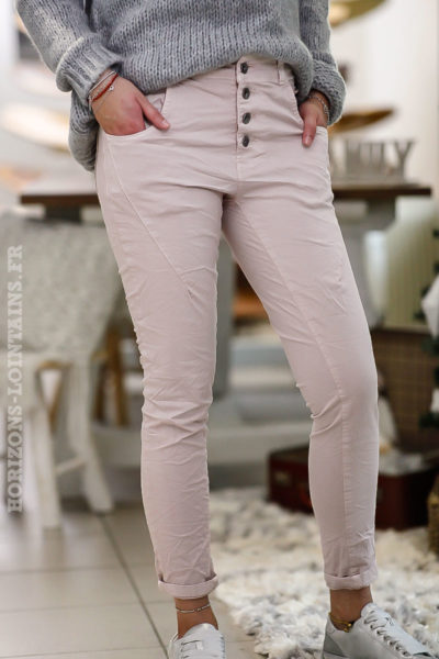 Pantalon Bi-matière rose poudré
