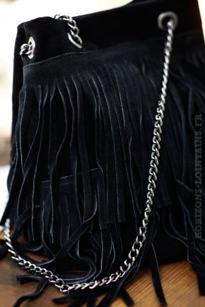 Sac seau noir cuir velours avec franges anse chaînettes