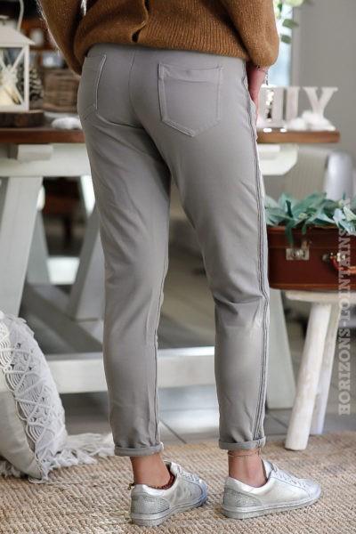 pantalon jogging femme taupe avec bande brillante