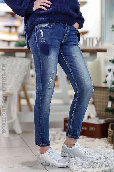 Pantalon femme jean stretch délavage moyen style troué