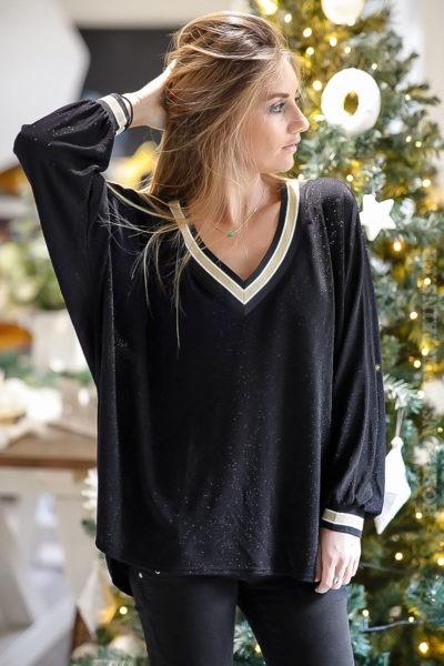 pull-fin-noir-brillant-avec-colV-doré-paillette-tenue-fête-vêtement-noel