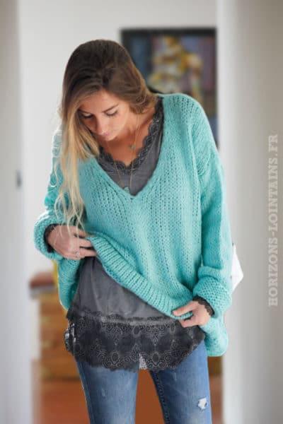 Sous-pull-gris-manches-longues-dentelle vêtement femme