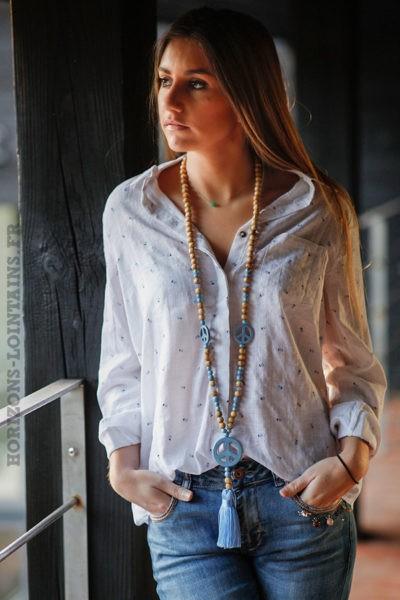 Chemise-blanche-voile-coton-imprimé-petits-ananas-bleu-marine-top-femme-C013