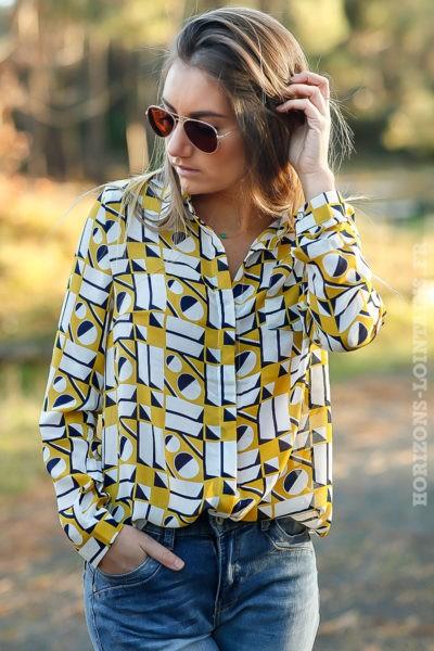 Chemise-voilage-effet-soie-imprimé-geométrique-jaune-moutarde-look-femme-moderne