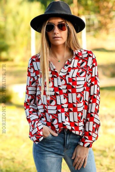Chemise-voilage-effet-soie-imprimé-geométrique-rouge-noir-blanc-look-femme-moderne-C011