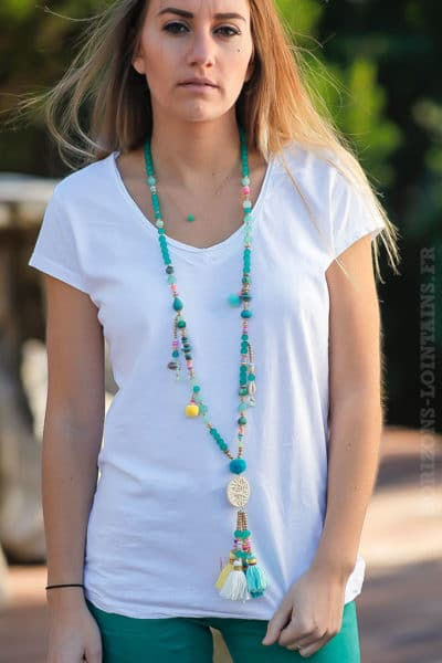 Collier perles-turquoises-médaillon-rotin-beige-vert-turquoise petits coquillage iles bijoux femme