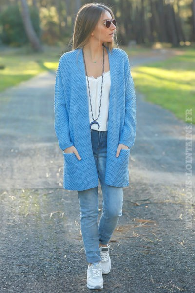 Gilet femme bleu lavande long en maille
