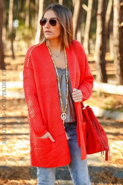 Gilet femme rouge corail long en maille