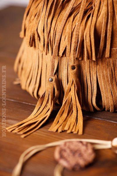Sac seau camel franges avec cordons