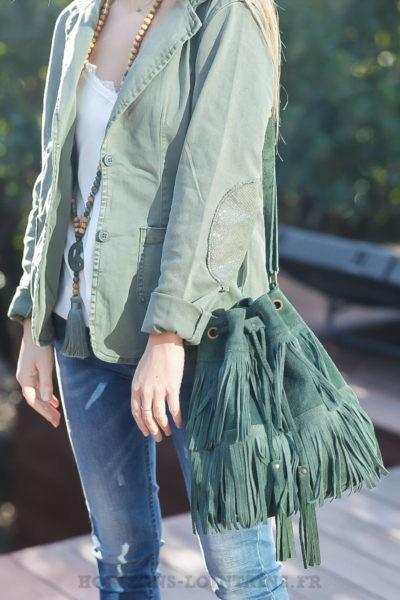 Grand-sac-seau-vert-kaki-franges-lien-ajustable-sacs-femme-hippie-bohème-chic