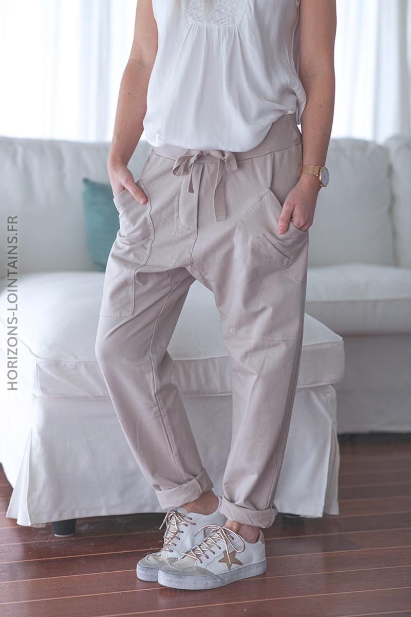 Jogging urbain poches decontracte homewear beige (7)