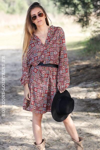 Robe-corail-mi-longue-imprimé-géométrique-vêtement-femme-look-hippie-esprit-bohème-C002