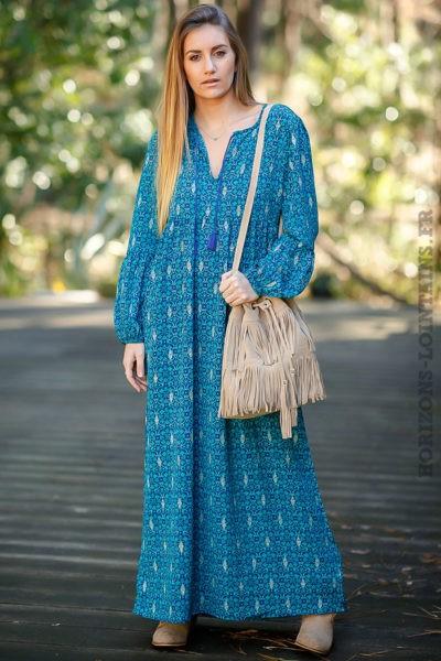Robe-longue-bleue-bohème-imprimé-turquoise-look-boho-femme-hippie-chic